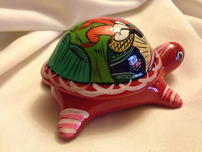 Fun NWT $106 Hand Painted Turtle Lidded Trinket Jewelry Box Terracotta Clay