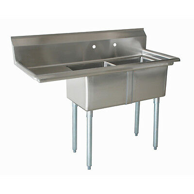 """New 2 Compartment Stainless Steel Sink NSF 16"""" x 20"""" x 12"""" - 1 Drainboard"""