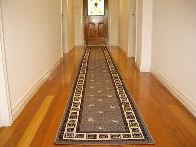 Hall Runner Rug Patterned Modern Designer Grey 300cm Long FREE DELIVERY