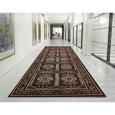 Hall Runner Rug Traditional Designer Burgundy 4 Metres Long FREE DELIVERY