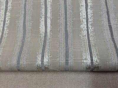 Neurone linen Grey Stripe Faux Silk  Curtain/Craft/Upholstery Fabric