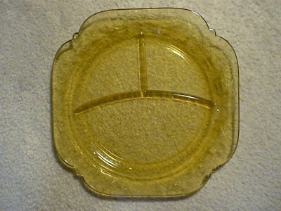 Yellow Depression Glass Divide Plate