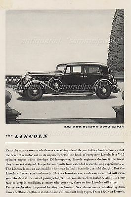 Lincoln Two-Window Town Sedan - Original Anzeige von 1934