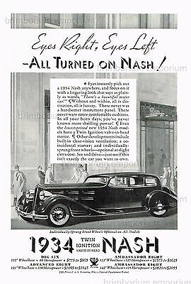 Nash Ambassador Eight  ALL TURNED ON NASH! - Original Art Deco Anzeige von 1934