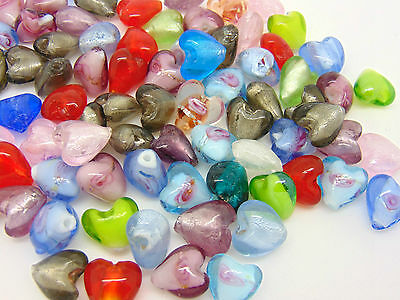 Mixed Lampwork Glass Color-Lined Foil Heart Beads Jewellery Craft - 12mm ML