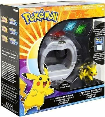 Pokemon Z Ring Set - Z-Ring, 3 x Z-Crystals & 5cm Pikachu Figure New!!