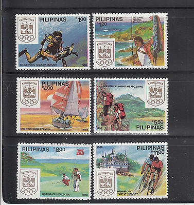 Philippines 1988 Olympics Sc 1933-1938 mint never hinged