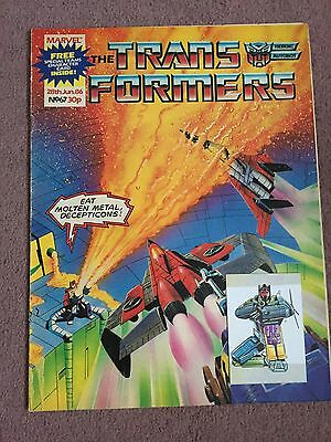 Transformers Comic Marvel Uk #67 With Used Special Teams Card Free Gift