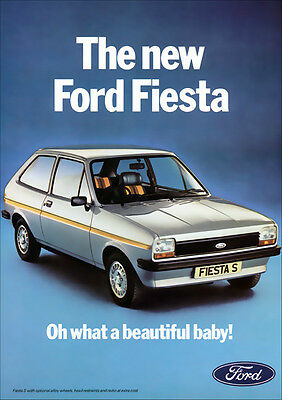 FORD FIESTA S RETRO A3 POSTER PRINT FROM CLASSIC 70's ADVERT