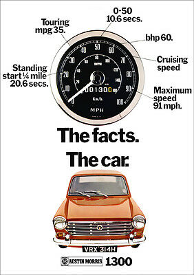 Bl Austin Morris 1300 Retro A3 Poster Print From Classic 70's Advert