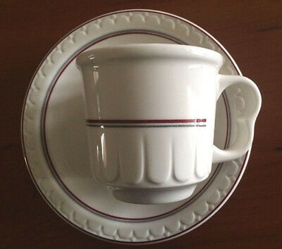 Syracuse China Maroon Red & Gray Stripe Coffee Cup & Bread Plate Restaurant Ware