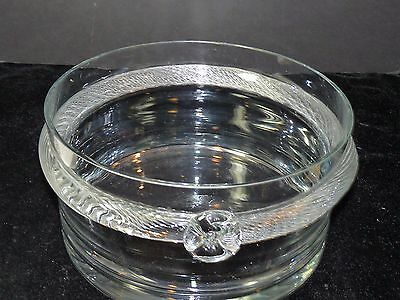 "STUNNING 9 1/2"" Art Glass Bowl Applied Ribbon Band Trifle Centerpice Salad Large"