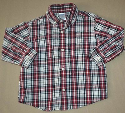 Gymboree Traditions Red white and Navy Plaid Dress Shirt Size 2T - EUC