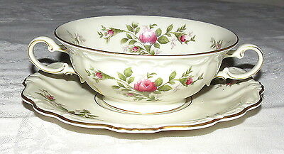 Rosenthal Antoinette Moss Rose Cream Soup Bowl and Underplate Saucer - NEW