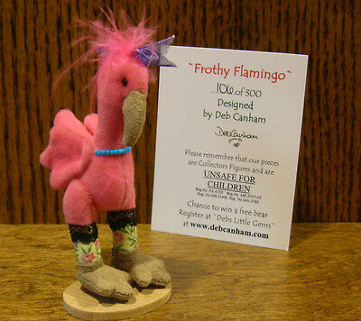 "DEB CANHAM Artist Designs FROTHY FLAMINGO, DEB'S LIL' GEMS COLL LE 3.5"" velvet"