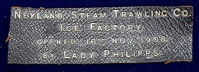 Very Rare Original Leather Steam Trawling Ice Factory Opening 1908 Sign