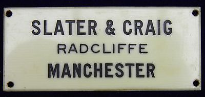 Rare Original Vintage Small Slater & Graig Radcliffe, Manchester Sign