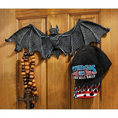 Gothic Medieval Vampire Bat Hooked Wall Hanger Sculpture - Large