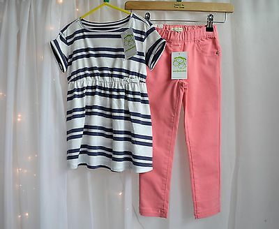 NWT Girl Boutique Outfit  White Striped Long Sleeve Top & Pink Jeans Age 5 Years