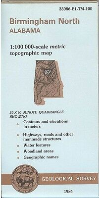 US Geological Survey topographic map metric BIRMINGHAM NORTH Alabama 1984