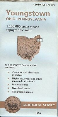 US Geological Survey topographic map metric YOUNGSTOWN Ohio Pennsylvania 1986