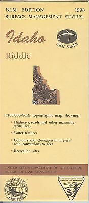 USGS BLM edition topographic map Idaho RIDDLE 1998
