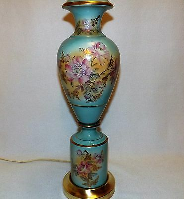 Gorgeous Antique Table Lamp Raised Hand Painted Floral Gold Trim Solid Brass Bas