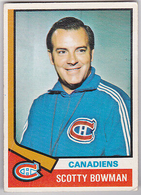 74-75 OPC Scotty Bowman Rookie OPEECHEE Canadiens 1974