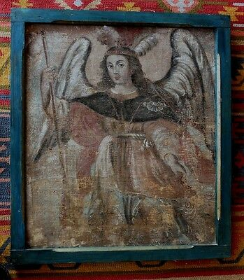 Beautiful Large Antique St Saint Michael Archangel Angel Canvas Painting Mexico