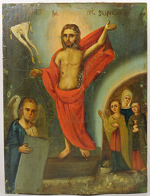 c.1890 ANTIQUE RUSSIAN RELIGIOUS ART ICON ORTHODOX RESURRECTION OF JESUS CHRIST