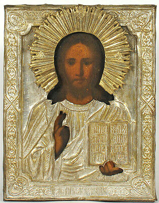 ca1900 ANTIQUE RUSSIAN RELIGIOUS ORTHODOX ICON JESUS CHRIST PANTOCRATOR IN OKLAD