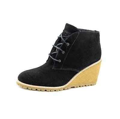 Coach Karson Black Suede Lace Up Fashion Ankle Bootie Wedge Boots Size 6 NEW