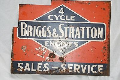 Vintage Antique Briggs & Stratton Flange Advertising Sign Hit Miss Gas Engine