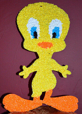 """Vintage Tweety Bird Melted Plastic Popcorn Decoration Wall Hanging 21 by 12.25"""""""
