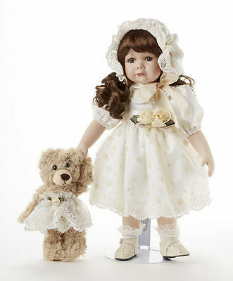 """Beautiful 14"""" Victorian Porcelain Delton Doll and Bear, Ivory Lace Avery"""