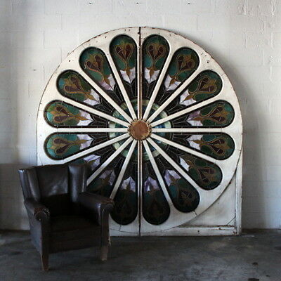 Antique 8 Feet Stained Glass Window Wood Frame Peacock Round Wall