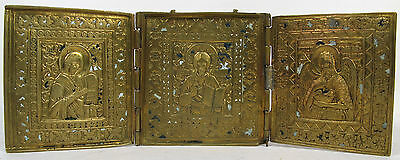 19c ANTIQUE RUSSIAN ORTHODOX BRASS ENAMEL ICON TRIPTYCH PLAQUETTE DEISIS CHRIST