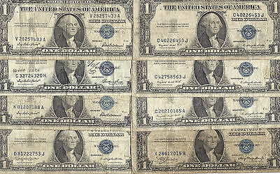 1935 & 1957 $1 SILVER Certificates! 8 Notes! Circs! Old US Paper Money!