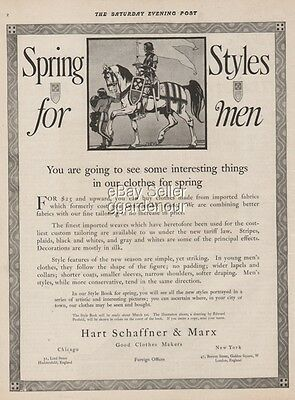 1914 Edward Penfield Hart Schaffner & Marx Fashion Mens Spring Style Ad