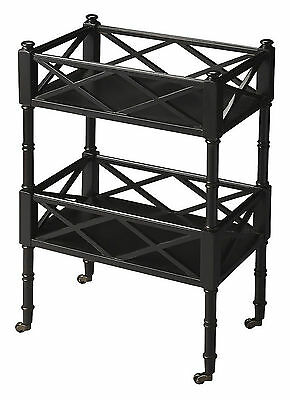 Carts - Chinese Chippendale Rolling Serving Cart - Bar Cart - Black