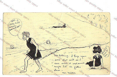 1908 SWIMSUIT FASHON COMIC - WISCONSIN PM - HAND DRAWN  Postcard