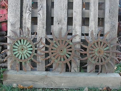 (3) JD Rotary Hoe Wheel Sunflower Yard Garden Wall Art Decor SteamPunk 19""