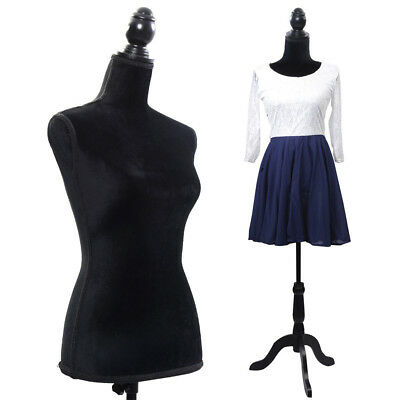 Female Mannequin Torso Dress Form Display W/ Tripod Stand Designer Pattern Black