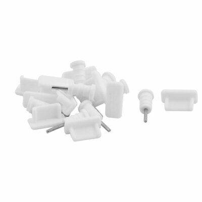 Silicone Earphone Charger Dock Port Anti Dust Cap White 10 Set for Type C Phone