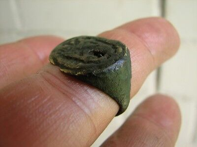 Nice  Bronze Viking Ring  With Ornament#3509