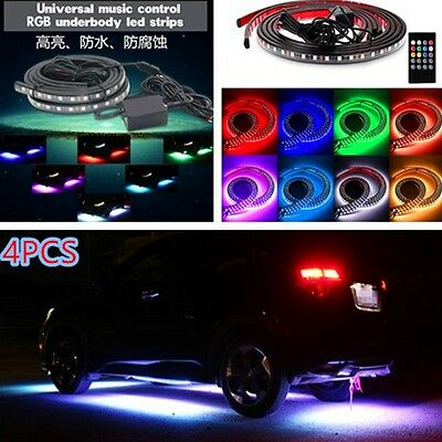Car Under Glow Underbody Music Control Flexible LED Strip Neon Lights Kit+Remote