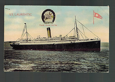 1911 England SS Laurentic Color Postcard Ship Cover passenger Liner