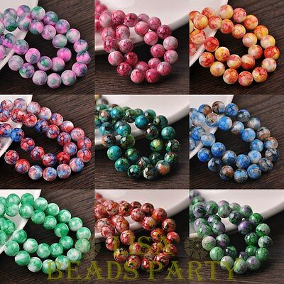 New Colorful Round Loose Glass Spacer Beads 6mm 8mm 10mm 12mm Wholesale Lot