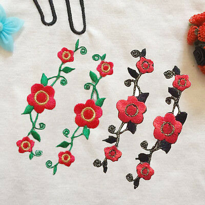 2 Pcs Rose Flower Embroidery Accessories Iron On Applique Patch DIY
