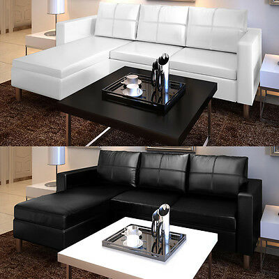 kunstleder sofa 3 sitzer ecksofa loungesofa l form dreisitzer eckcouch couch eur 185 99. Black Bedroom Furniture Sets. Home Design Ideas